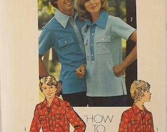 Vintage 70's Sewing Pattern, Misses Shirt, Size 10