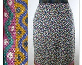 80s Missoni Colorful Knit Pencil Skirt M