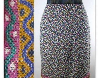 80s Missoni Colorful Knit Pencil Skirt M