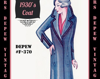 Vintage Sewing Pattern 1920's 1930's Coat in Any Size - Plus Size- Draft at Home Pattern Depew F-370 -INSTANT DOWNLOAD-