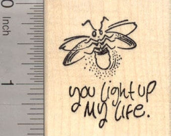 Valentine's Day Rubber Stamp, Lightning Bug, Firefly   E23402 Wood Mounted
