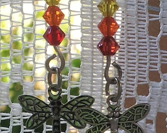 Earrings, Victorian Dragonfly with Preciosa Crystal