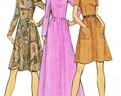 1970s Dress Pattern Butterick 6911 Fit and Flare Dress Flared Skirt Maxi Midi Mini Skirt Womens Vintage Sewing Pattern Bust 34