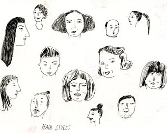 Hair Styles, drawing on paper