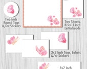 Butterfly Stationery Notes, Letterheads, Tags and Stickers - Print Your Own Digital Item INSTANT DOWNLOAD - Item140