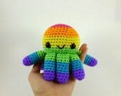 Rainbow Octopus / Crochet Octopus / Amigurumi Octopus / Cute Octopus Plush - Bright Rainbow Big Octopus Plushie - Made to Order