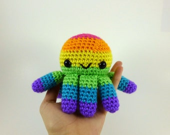 Bright Rainbow Big Octopus Amigurumi Crochet Plushie - MADE TO ORDER