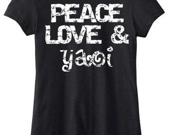 Yaoi Shirt Peace Love Yaoi tee fangirl fanboy cute yaoi t-shirt anime manga BL gay yaoi fandom shirt yaoi anime yaoi manga