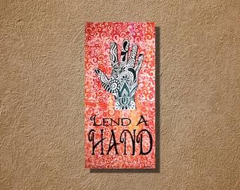 Lend a Hand Orange Mango Mehndi Original Acrylic Painting 12 x 24