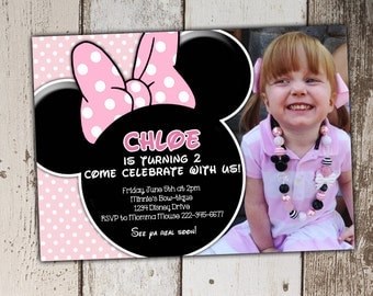 Light Pink Minnie Mouse Invitations with photo (other colors available) - Birthday Invitations - print yourself JPG
