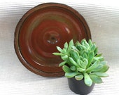 """Handmade wheel thrown small earthenware dish bowl iron red green black serving dish tray 5.5"""" by 1.5"""""""