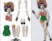 Sandy squelette Halloween Paper Doll - téléchargement immédiat