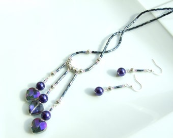 Purple Jewellery SET - Luster Hearts & Pearl Trio Pendant Necklace and Earrings