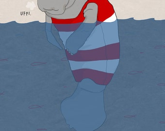 Sad manatee illustration funny sea animal postcard in nautical red white and blue colors