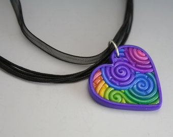 Pastel Rainbow Heart Pendant in Polymer Clay Filigree Valentine's Day Gift