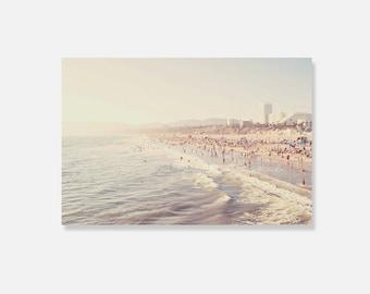 beach canvas wrap, Santa Monica photography, nursery art, pale white cream light gray Los Angeles beach home decor ocean waves, gallery wrap