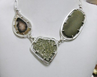 Raw Stone Necklace, Natural Pyrite Crystals, Agate Druzy, & Beach Pebble , Sterling Silver, Length adjustable