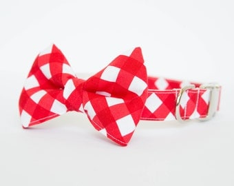 Bow Tie Dog Collar - Red Gingham