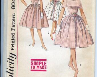50s 60s Pattern Vintage Full Skirt Day Dress Simplicity 4343 B34