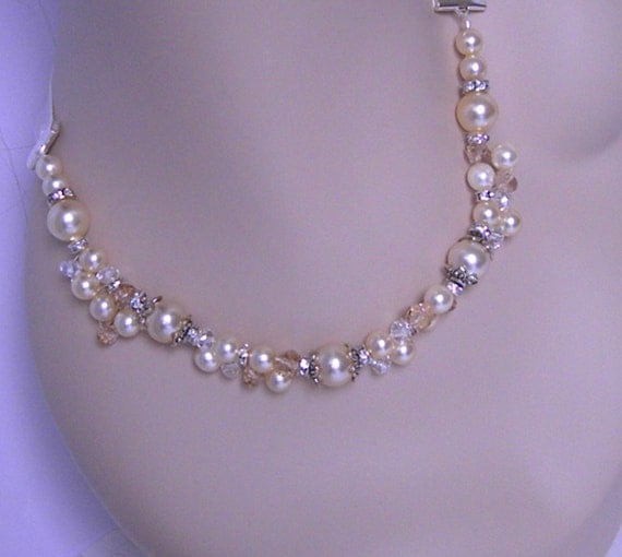 Bridal Necklace, Wedding Jewelry,  Cream Pearl and Champagne Crystal Necklace, Beaded Bridal Necklace, Pearl and Crystal Necklace- ALORA