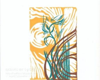 Vernal Transformation, Hand-Pulled Linocut Relief Print, Original Artwork
