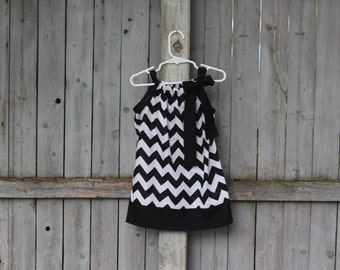Black and White Chevron Pillowcase Dress