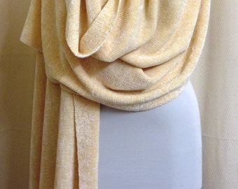 Handwoven Champagne Chenille Shawl - Wedding Shawl - Off White Wedding Wrap Stole- Woven Shawl