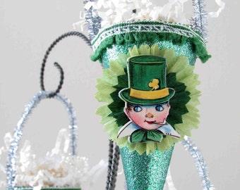 Vintage Style St. Patrick's Day Ornament Decoration/ Vintage Die Cut/Crepe Paper Flower/Boy