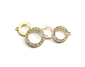 1pc- Matte Gold Plated Four Circle Connector with swarovski connector, charm- 45x20mm (019-018GP)