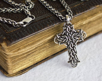 Mens Silver Cross Necklace on Wheat Chain, Oxidized Argentium Sterling Chainmaille Pendant Unique Celtic Cross Baptism Gift 18 22 28 36 inch