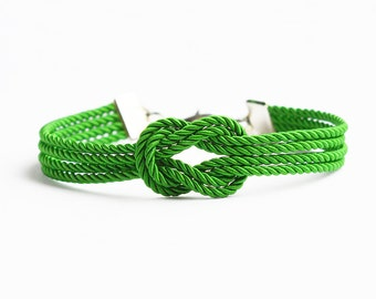Emerald green forever knot nautical rope bracelet with silver anchor charm