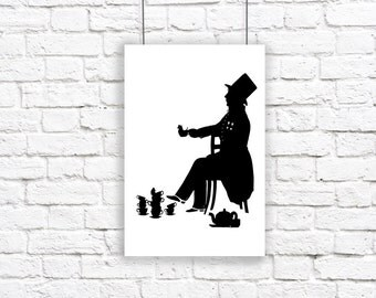 The Mad Hatter Alice In Wonderland Large Silhouette Print Black and White Tea Mouse
