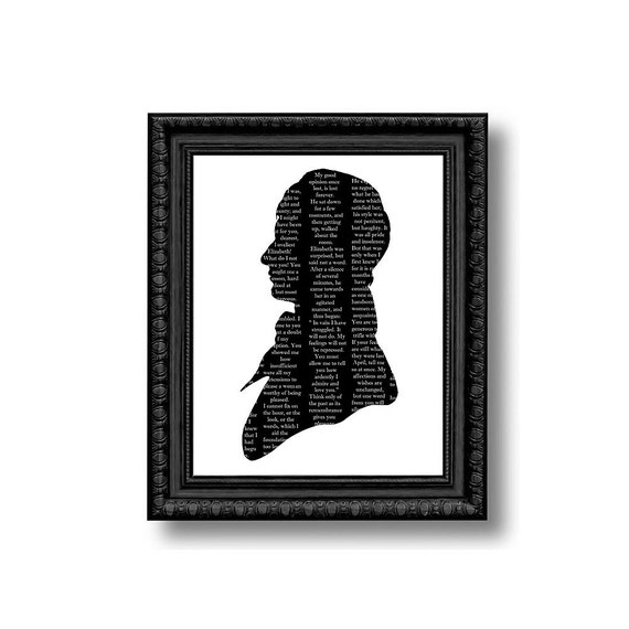 Mr. Darcy Silhouette Print Pride And Prejudice Black and White Jane Austen