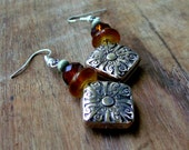 BOHEMIAN - Earrings, YELLOW, BROWN, Wood, Silver, Romantic, Ear, Casual, Short, Crystal, Fashion, Trend, Light Weight, Floral,Country,