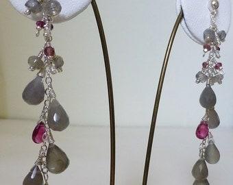 Grey moonstone, labradorite & raspberry tourmaline long drop earrings,chandelier earrings,dangle earring,pink gemstone, pink and grey,