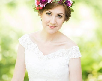 colorful floral crown, purple flower crown, floral crown headband, pink flower crown, bridal headpiece, bridal floral crown, garden wedding