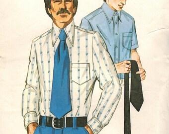 1970s Kwik Sew 465 Vintage Sewing Pattern Men's Shirt, Dress Shirt, Formal Shirt, Disco Shirt Sizes 36 - 38 - 40