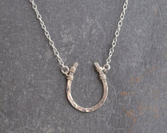 Handmade hammered lucky horseshoe necklace