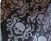 Mens necktie, black and black pearl damask skull necktie