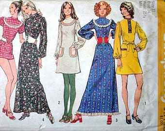 Vintage 70's Simplicity 9763 Sewing Pattern, Dress In Two Lengths Or Tunic And Bloomers, Size 12, 34 Bust