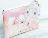 Eco friendly unique Mother day gift ,zippered cosmetic purse- Make up bag- exclusive linen blend blush pink Watercolour and magnolia