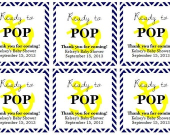 "Nautical ""Ready to Pop!"" Baby Shower Favor Tags: Digital File"