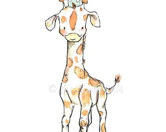 Children's Art -- Royal Giraffe -- Archival Print