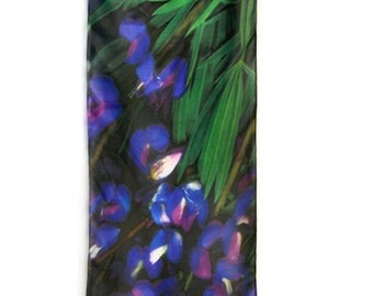 "SILK SCARF  -  ""Lupine""  Fine Art Flower Image on Habotai Silk   -  14"" x 72"" - wearable art by Kathe LeSage - lovely Mother's Day gift"