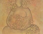 PRINT Garden Goddess, pastel art print, goddess art, spiritual art, zen painting, buddha art