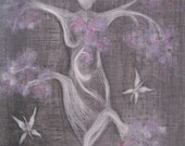 PRINT In the Garden, black and white art print, goddess art, garden goddess, lilac, spiritual art, zen painting