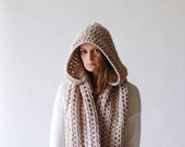 Chunky Hooded Cowl Infinity Scarf / THE MANITOBA / Linen