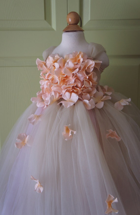 Flower girl dress pink champagne dress pink champagne tutu for Champagne pink wedding dresses