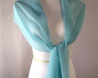 Evening Wrap - Turquoise - Shawl Scarf - Stole - One Shoulder Drape - Turquoise Chiffon - Pashmina - Dressy Wrap - Extra Long