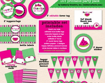 Sweet Watermelon Birthday Party (Pink) - DIY/Printable Complete Party Pack- Instant Download PDF File